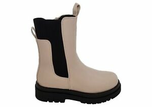 Ladies Truffle Cream Chunky Sole Tall Stretch Gusset Comfort Ankle Boots