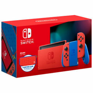 Nintendo Switch Mario Red & Blue Edition Bundle with Carrying Case Limited New