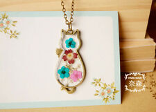 Stylish Women Lady Cute Cat Kitty Natural Dried Flowers Pendant Necklace Unique