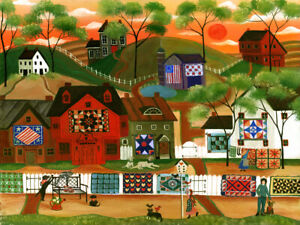 Quilters Quilts Dogs Cats Birds Sunset Barns FoLk ArT PaiNtInG OrIgInAl PrInT