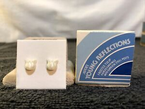 VTG 1981 Avon Childs Frosted Tulip Earrings With Surgical Steel Posts NIB