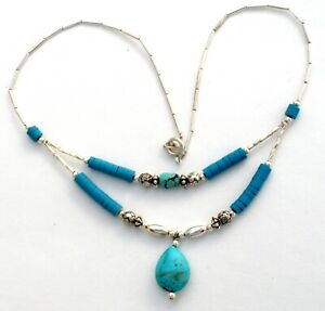 """Turquoise Heishi Bead Silver Necklace Double Strand Blue Gemstone 18"""" Vintage"""