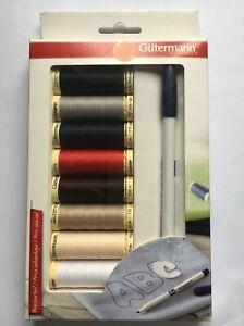 Gutermann Thread Set: Sew-All polyester 8 x 100m & Trickmarker Free P&P
