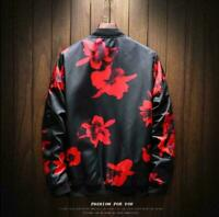 Fashion Mens Slim Casual Printed Jacket Bomber Stand Collar Coats Outwear Floral
