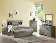 Traditional Gray 5 piece Bedroom Set w/ Queen Bookcase Headboard Storage Bed AB3