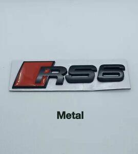 Logo RS6 Noir Mat Badge Emblème Audirs6 Autocollant Hayon Arriere Metal
