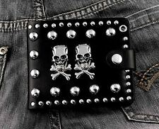 Men's Steampunk Punk Gothic Skull Studded Leather Wallet  /Can Add a Chain