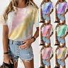 Womens Summer Short Sleeve Crew Neck T Shirt Tie-dye Print Casual Blouse Tops US