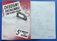 Moda - Disegni decalcabili con ferro caldo - 5^ Motivi per ricami - 1955 ca.