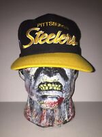 Pittsburgh Steelers NFL Football Fitted 7 Black Yellow Hat Ball Cap Vintage 90s