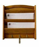 Home Basics Pine Letter Rack with Key Hooks - LR01122