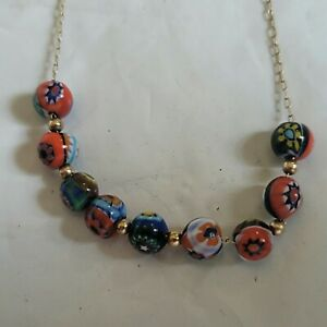 Solid14k GOLD NECKLACE, GOLD BEADS & Kiri Multi-Colored Handpainted Enamel beads