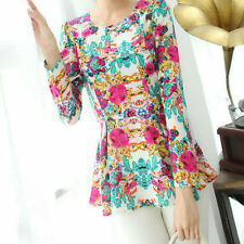 Regular Casual Floral Chiffon Tops & Blouses for Women