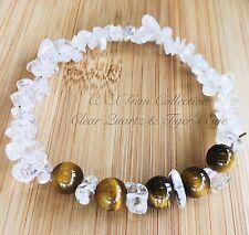 Gemstone Crystal Clear Quartz ChipStone Tiger's Eye Beads Stretchy Bracelet