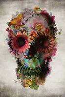 FLOWER SKULL POSTER - 24x36 GOTHIC FANTASY ART 10330