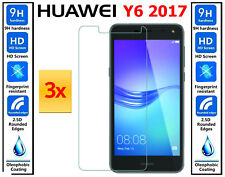 3x Genuine 100% Ultra HD TEMPERED GLASS Screen Protector For Huawei Y6 2017
