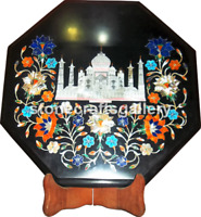 "12"" Marble Small Coffee Table Top Taj Mahal Multi Stone Floral Inlay Decors B026"