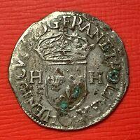 #1117 - Henri III Douzain aux deux H 1576 S Troyes Belle qualité - FACTURE