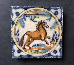 A RARE SPANISH TINGLAZED / DELFT / FAIENCE STALLION / HORSE TILE, 1750