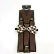 Brown Leather Suspender and Plaid Bow Tie Set Tuxedo Wedding Formal Accessory