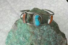 Coral Native Bracelet Vintage signed Sterling Turquoise