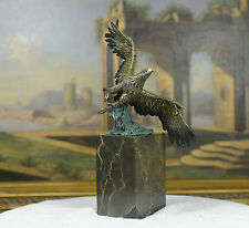 Flying Eagle Hawk Bird Eagle Spread wing Fighting Bronze Sculpture, Signed:Milo