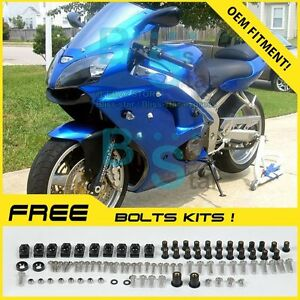 Blue INJECTION Fairing Plastic Kit Set Kawasaki ZZR600 05-08 066 WW