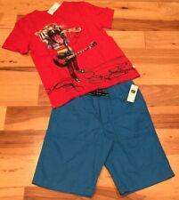 Gap Kids Boys Medium (8-9) Outfit. Rock Tiger Pizza Shirt & Blue Shorts. Nwt