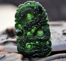 Natural Black Green Jade Carved Dragon Amulet Lucky Pendant + Rope Necklace