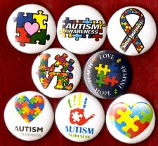 AUTISM AWARENESS 8 NEW button pin badge LOVE TEACH HOPE INSPIRE