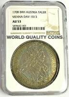 Austria 1708 Silver Coin Thaler Joseph I Vienna DAV-1013 NGC AU53 Extremely Rare