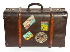 1920s 1930s Suitcase with collection of travel and school decals