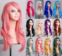 Fashion Women Girl Long Anime Full Hair Wig 70CM Curly Wavy Straight Deluxe Wigs