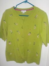 Ladies Christopher & Banks Short Sleeve Candy Cane Holly Green Sweater Size Sm
