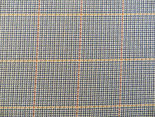 Tattersall check decorator material in blues and tans on 100% napped cotton