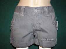 NEW Aeropostale Junior Girls Dark Gray Cotton Cargo Shorts 3 / 4
