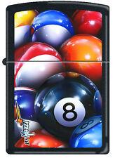 Zippo Claudio Mazzi Black Matte 8 Eight Ball Billiards Windproof Lighter RARE
