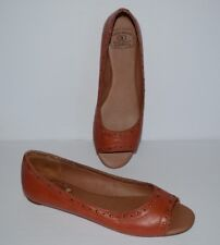LUCKY BRAND ERIKSON ORANGE PEEP TOE SLIP ON BALLETS WOMEN SZ 9 M *GUC*