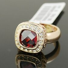 VINTAGE INSPIRED 18K GOLD PLATED GENUINE RUBY RED CZ & AUSTRIAN CRYSTAL RING 8.5