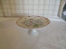 Vintage porcelain hand painted rose design pedestal cake plate tidbit plate