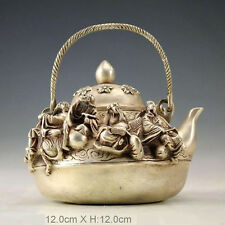 Vintage excellent Old Statue tibet silver carved immortal teapot