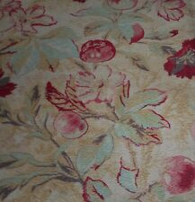 Antique French Shabby Carnation Floral Apple Cotton Fabric #2 ~ Red Aqua Pink