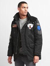 Gap Men's Limited Edition embroidered parka Jacket, Sz S Black