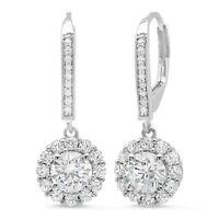 3.75ct Round Brilliant Cut Halo Leverback Drop Dangle Earrings 14k White Gold