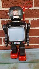 "Vtg 11"" Japan Metal Astronaut Robot w TV Screen Chest Very Nice, Not a Repro"