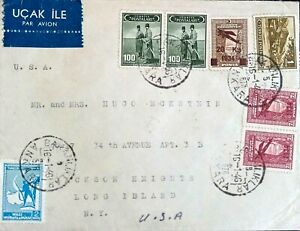 Turkey USA 1946 Cover sent from Ankara to New York franked with MULTI stamps R