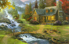 A3 Poster - American Frontier Cabin in a Mountain Wood (Picture Forest Hunting)