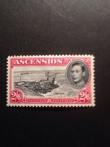 Ascension Island SG 45 GVI 1938 2/6 Black And Carmine Mounted Mint
