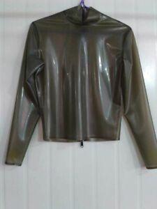 Latex Gummi Schwarz Zipper Tops Mittelkragen Cosplay Kostüm Mantel 0.4mm S-XXL