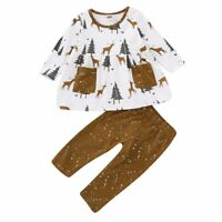 Toddler Kids Baby Girls Autumn Outfits Clothes Elk Trees Shirt Tops + Long Pants